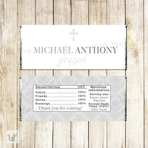 Baptism christening candy bar wrapper unisex silver printable