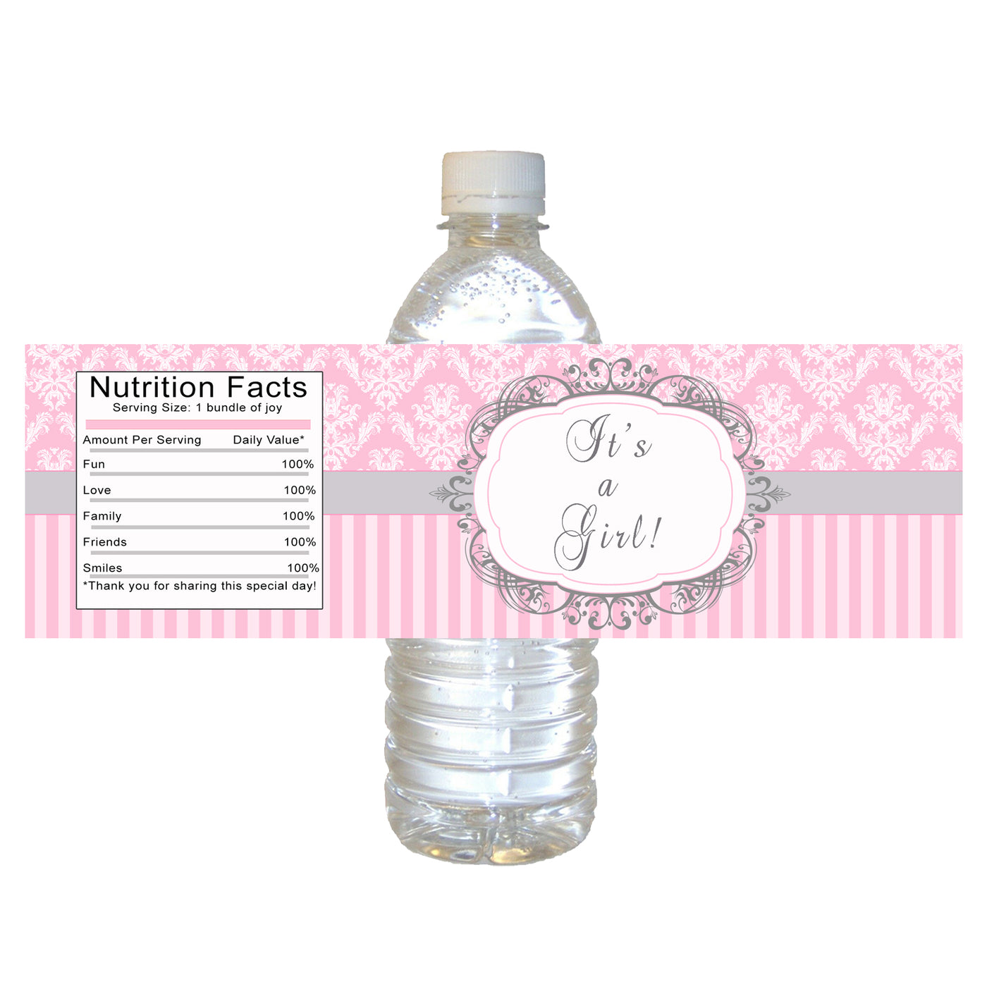 graphic regarding Printable Bottle Labels named Bottle labels female kid shower crimson gray damask stripes printable