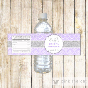 Silver Lavender Bottle Labels Bridal Shower Wrappers
