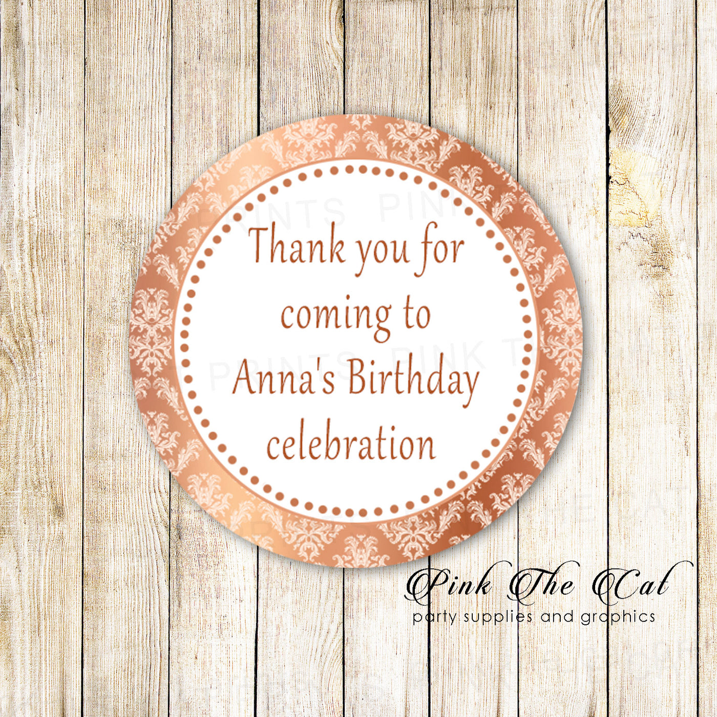 70 stickers 1 5 rose gold damask personalized