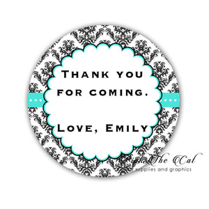 Teal black damask favor labels adult birthday personalized printable