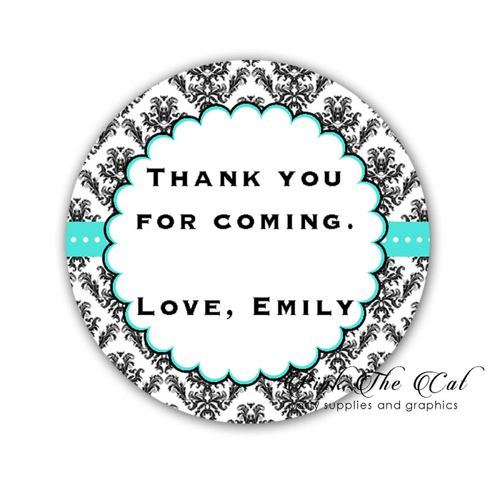 Teal black damask favor labels printable