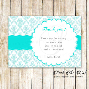Turquoise Damask Thank You Card Note Birthday Bridal Shower