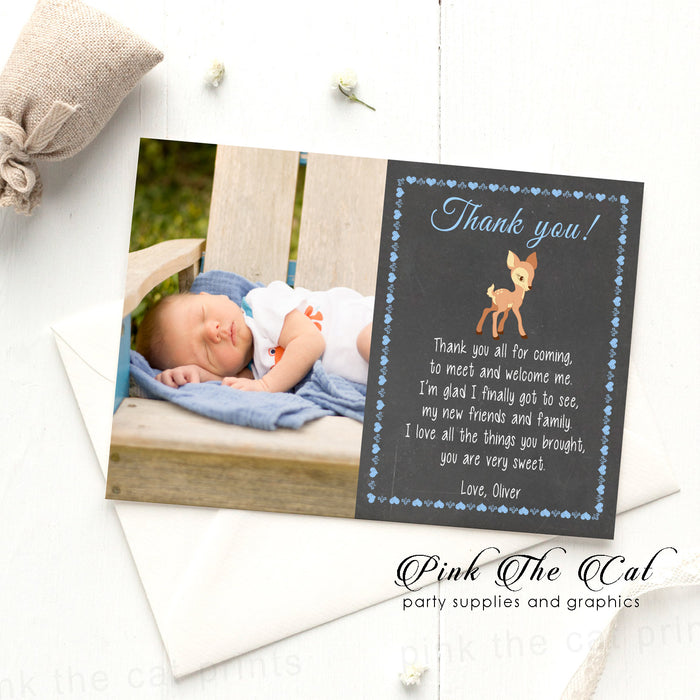 Deer thank you card blue black with photo printable