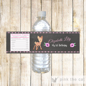Forest Deer Bottle Labels Baby Shower Birthday