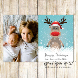 30 holiday christmas greeting cards with photo kids deer
