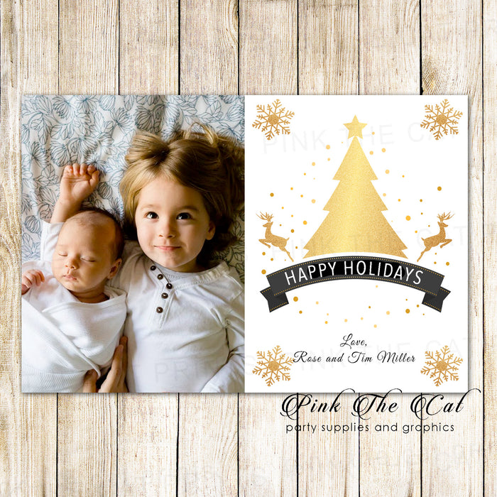 30 Holiday christmas greeting cards with photo golden tree