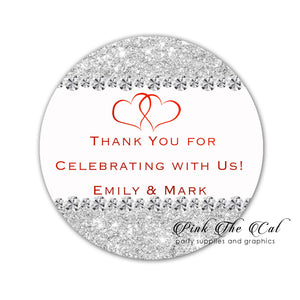 Diamond glitter silver favor stickers wedding anniversary printable
