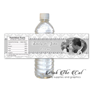 60 Diamond rhinestone bottle label wedding shower favors
