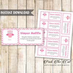 Diaper Raffle Baby Girl Shower Pink Owl Printable Instant Download