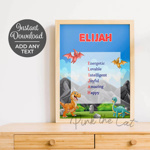 Dinosaur kids bedroom decoration personalized