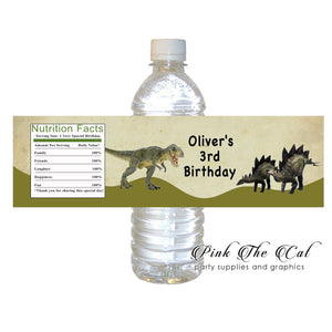 Real dinosaur bottle label printable