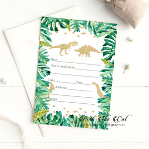 Dinosaur green gold birthday invitations (30 cards)
