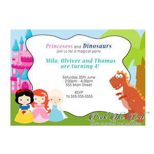 30 Dinosaur princesses invitations kids birthday gender neutral