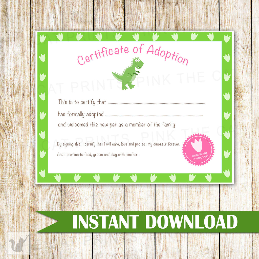 Certificate of Adoption Dinosaur Birthday Party