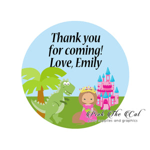 70 stickers dinosaur princess kids birthday gift favor labels