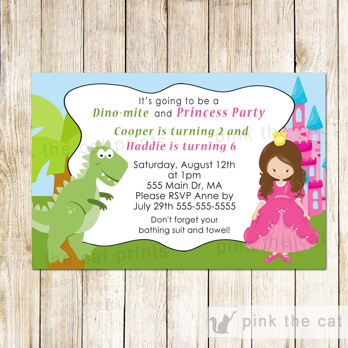 25 Printed Dinosaur Princess Invitation Kids Birthday Party – Pink ...