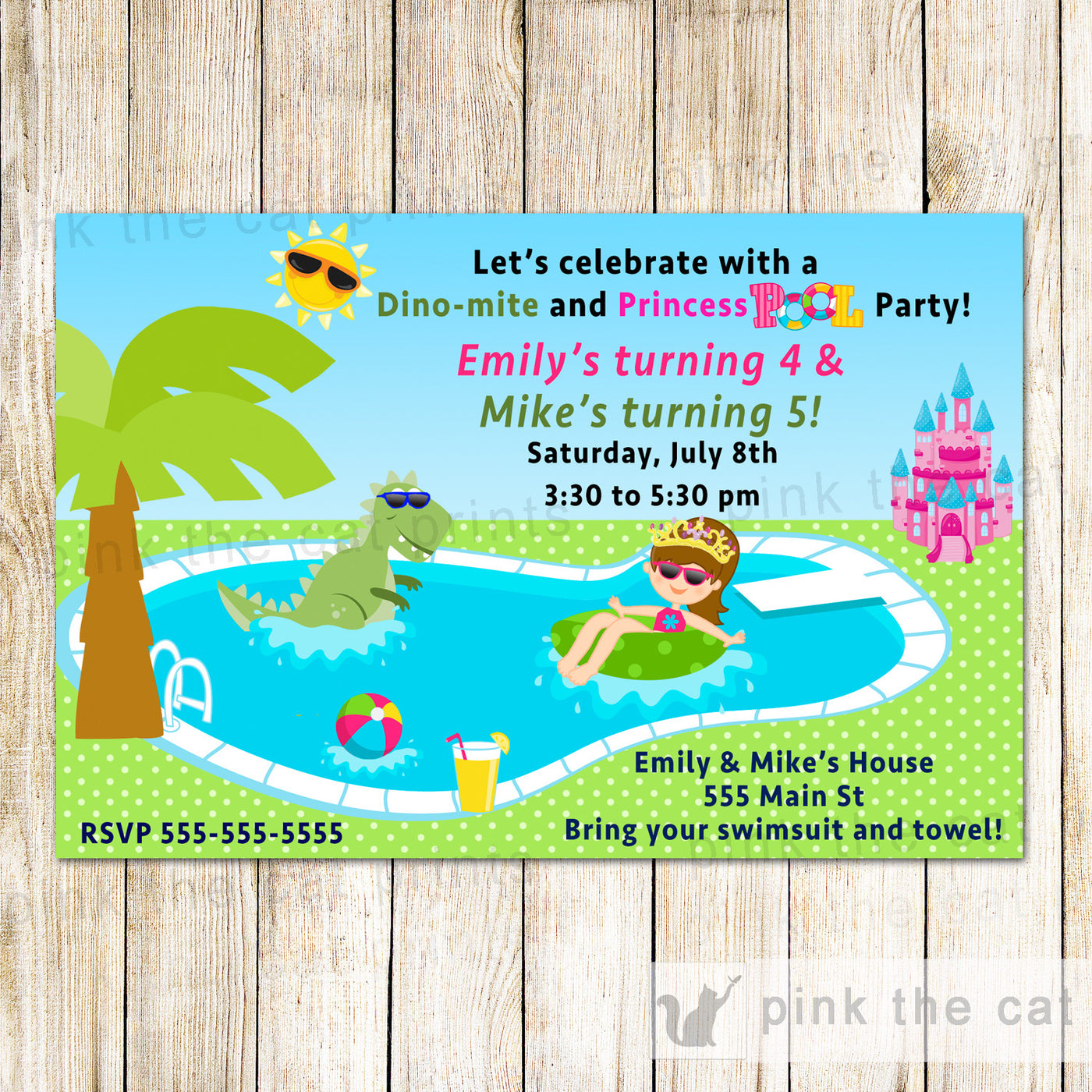 Dinosaur Princess Pool Party Invitation