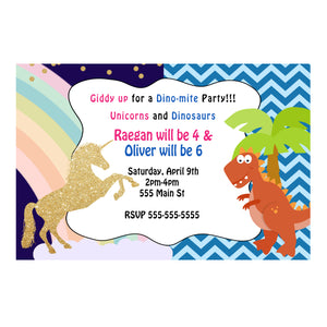 30 dinosaur unicorn invitations kids birthday party twins siblings