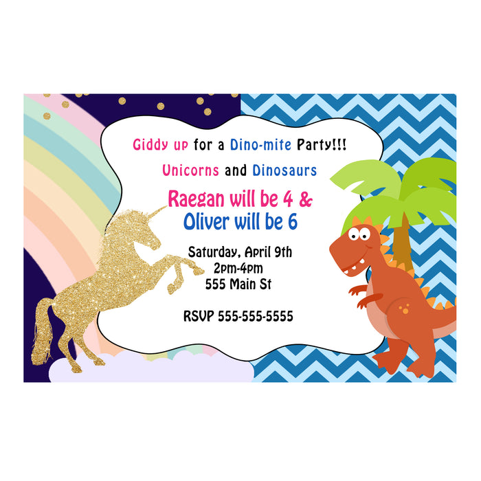 30 dinosaur unicorn invitations photo paper