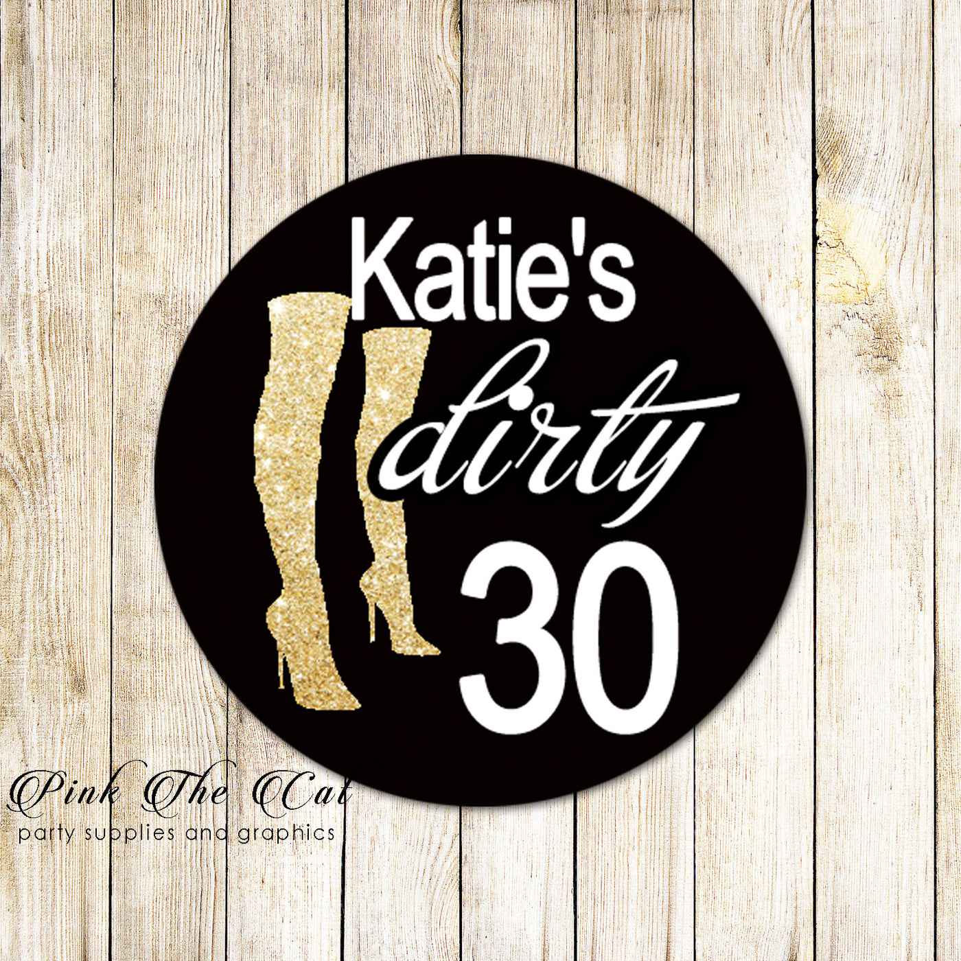 Dirty 30 favor labels gold glitter black printable personalized