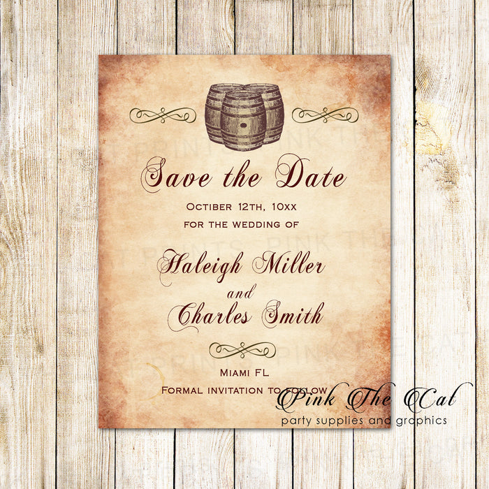 100 wedding save the date cards rustic wine barrel