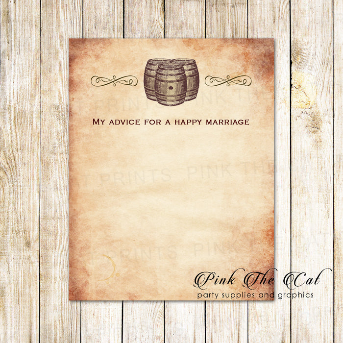 30 wedding well wishes advice cards wine rustic barrel