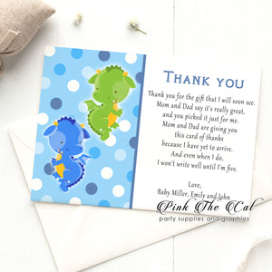 Dragon thank you card green blue twins baby shower printable