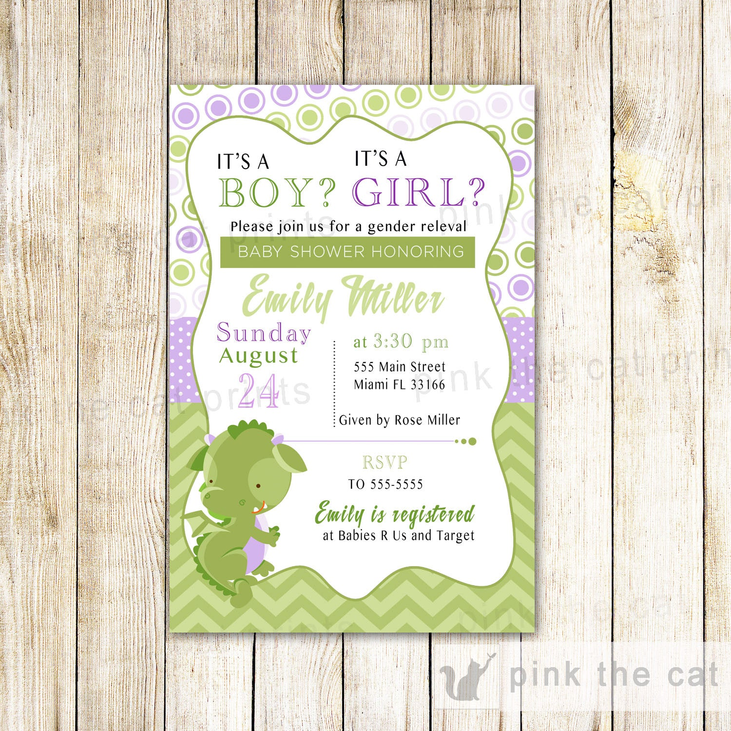 Dragon Invitation Gender Reveal Baby Shower Purple Green – Pink