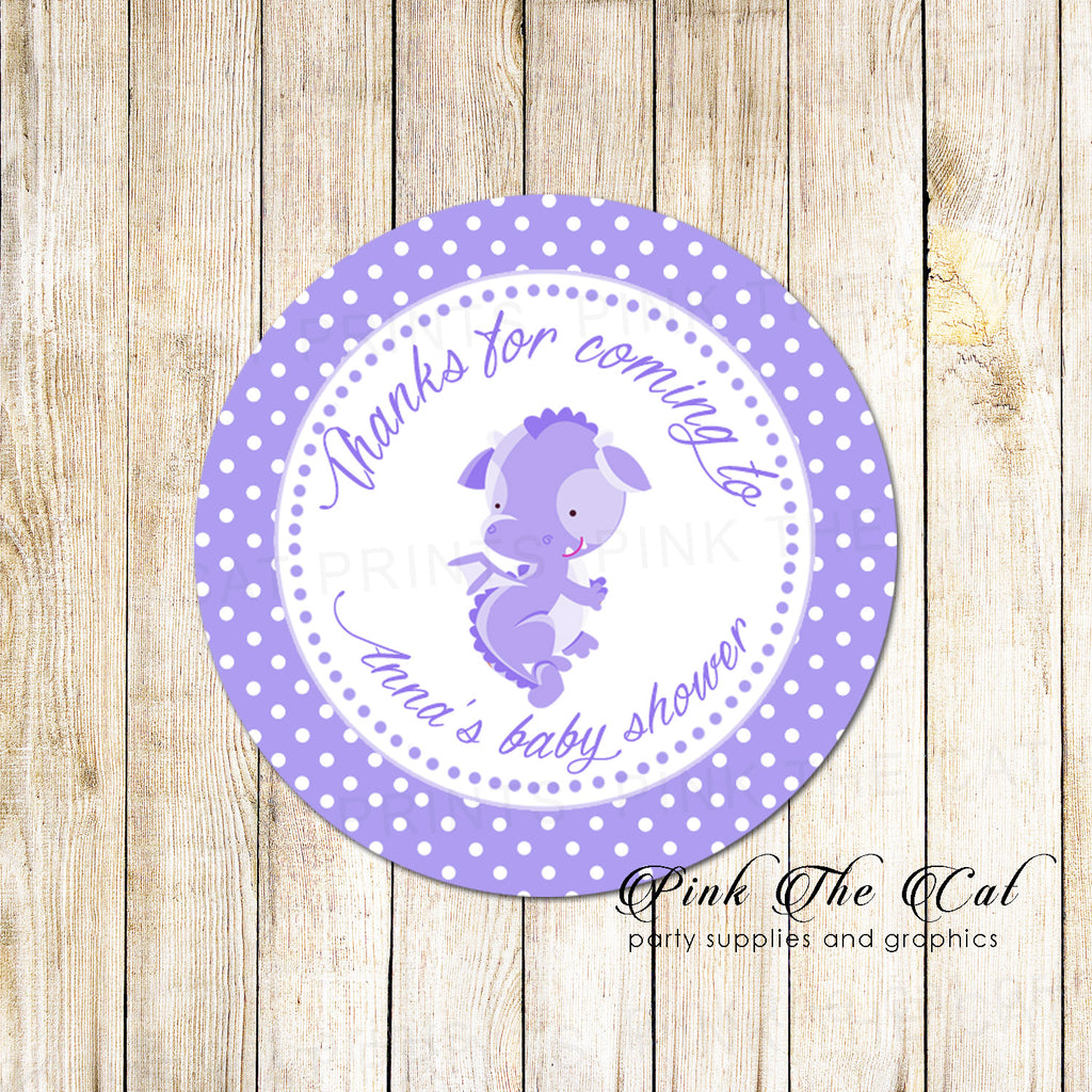 40 Dragon Favor Stickers Labels Birthday Baby Shower Lavender