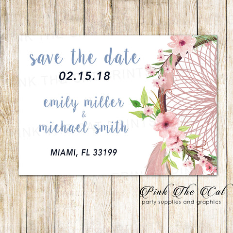 30 Cards Dreamcatcher Tribal Save The Date Blush Pink