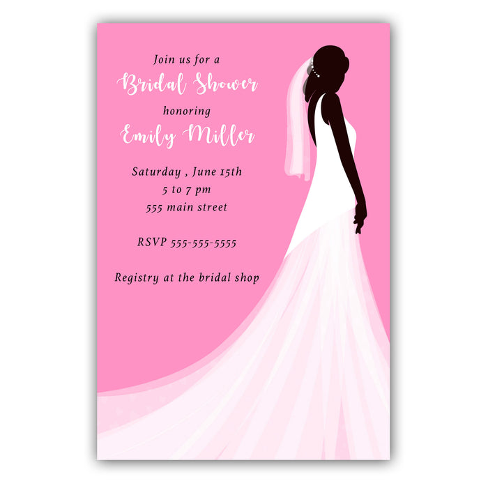 Dress invitation pink white bridal shower (set of 30)