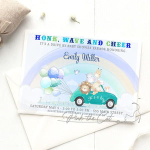 Drive by jungle baby shower invitation boy