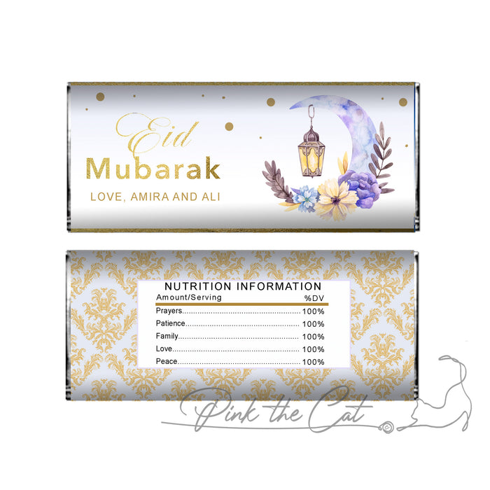 Eid mubarak candy bar gold purple