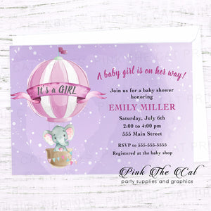 Elephant hot air balloon invitation printable purple personalized for girl