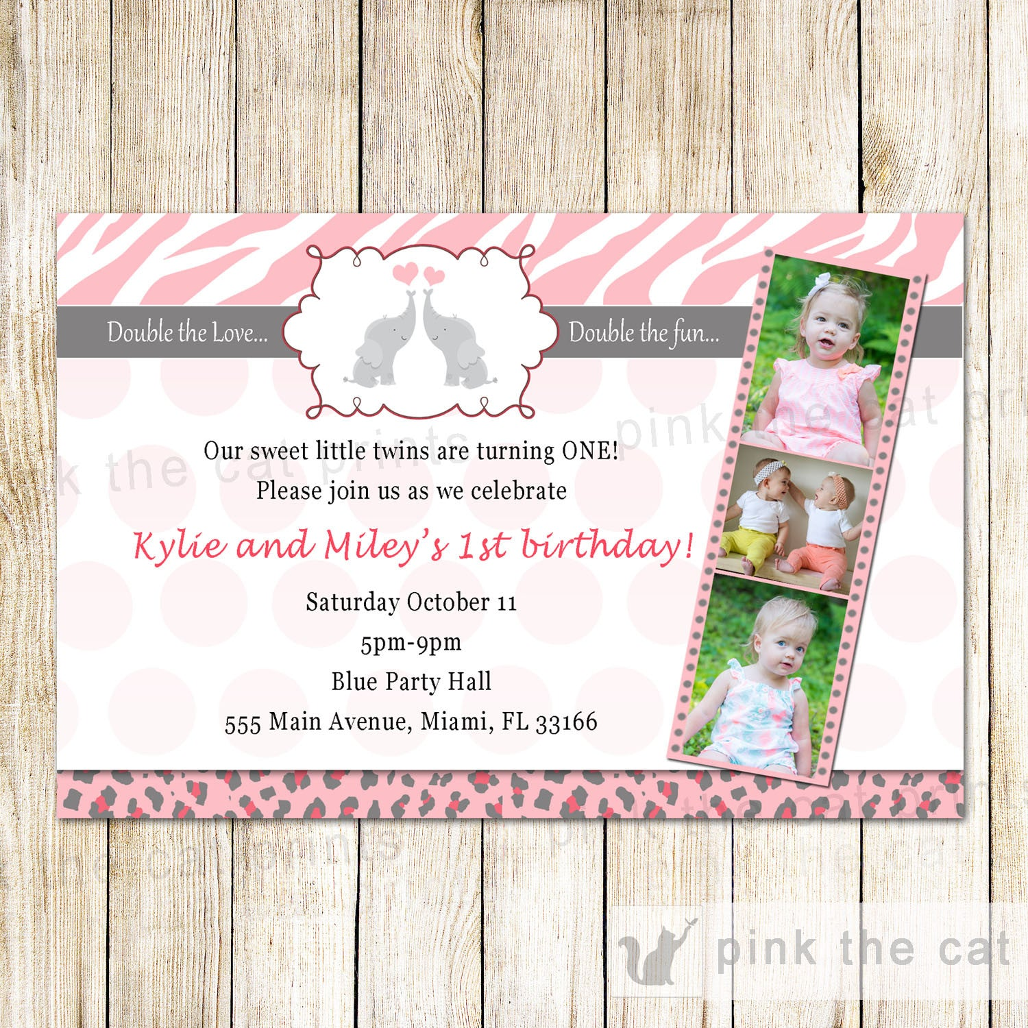 Elephant Invitation Twin Girls Birthday Party Pink Grey Photo Card ...