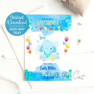 Elephant its a boy baby shower invitation