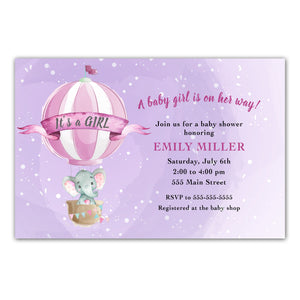 30 elephant balloon invitations girl with envelopes