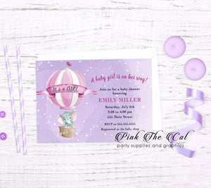 Elephant hot air balloon invitation printable purple