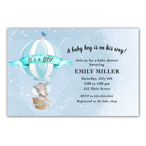 Elephant hot air balloon invitation printable blue
