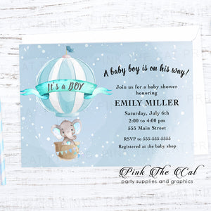 Elephant hot air balloon invitation printable blue personalized for boys