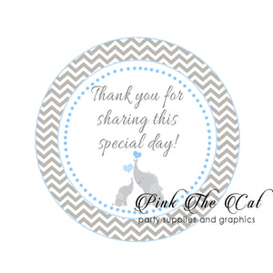 Elephant stickers blue baby shower favors personalized printable