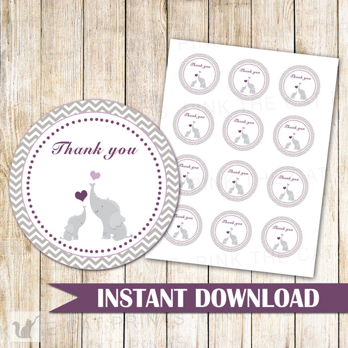 Elephant Favor Label Baby Shower Tag Purple Grey Stickers