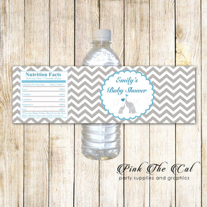 30 Bottle Labels Elephant Baby Shower Robin Blue Silver