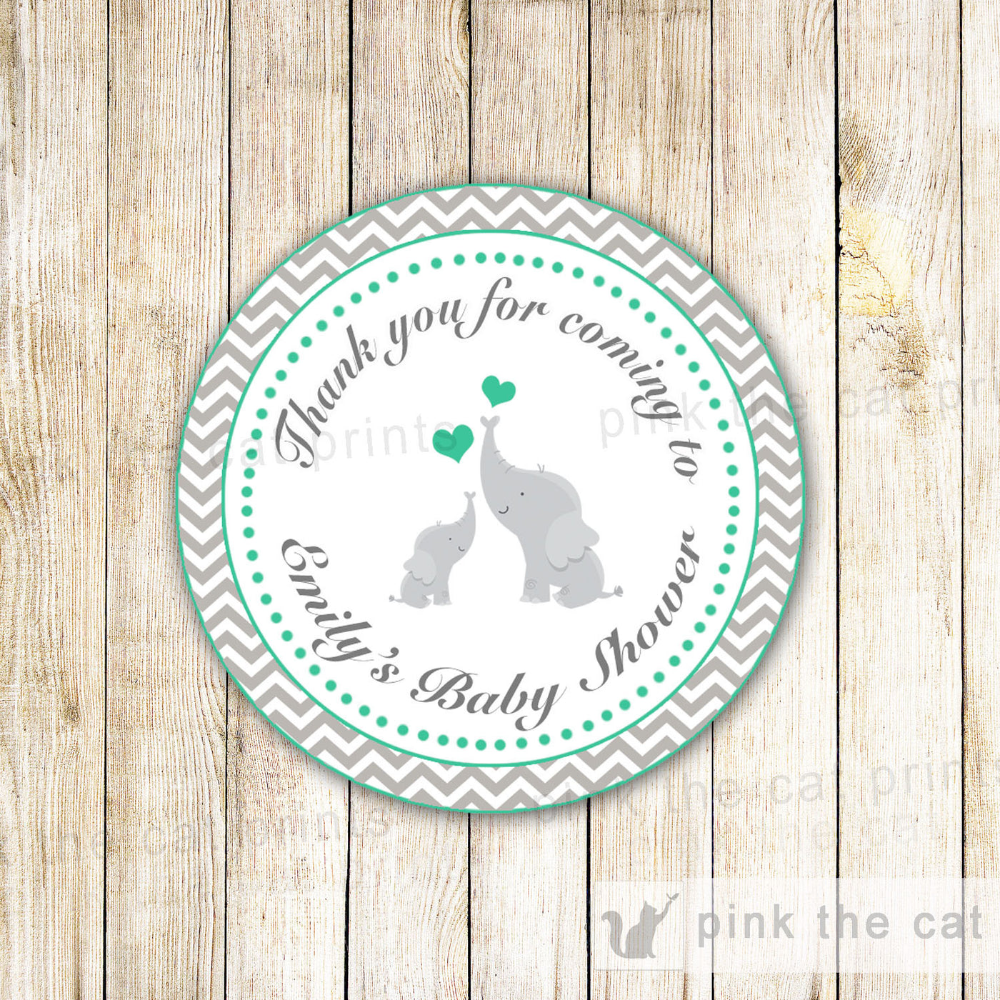 Elephant Sticker Gift Favor Tag Thank You Label Baby Shower Birthday G Pink The Cat
