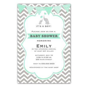 Elephant invitation mint green silver printable