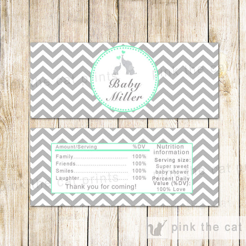 50 Candy Bar Wrappers Mint Grey Elephant Baby Shower