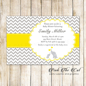 30 Elephant Invitations Baby Shower Silver Yellow
