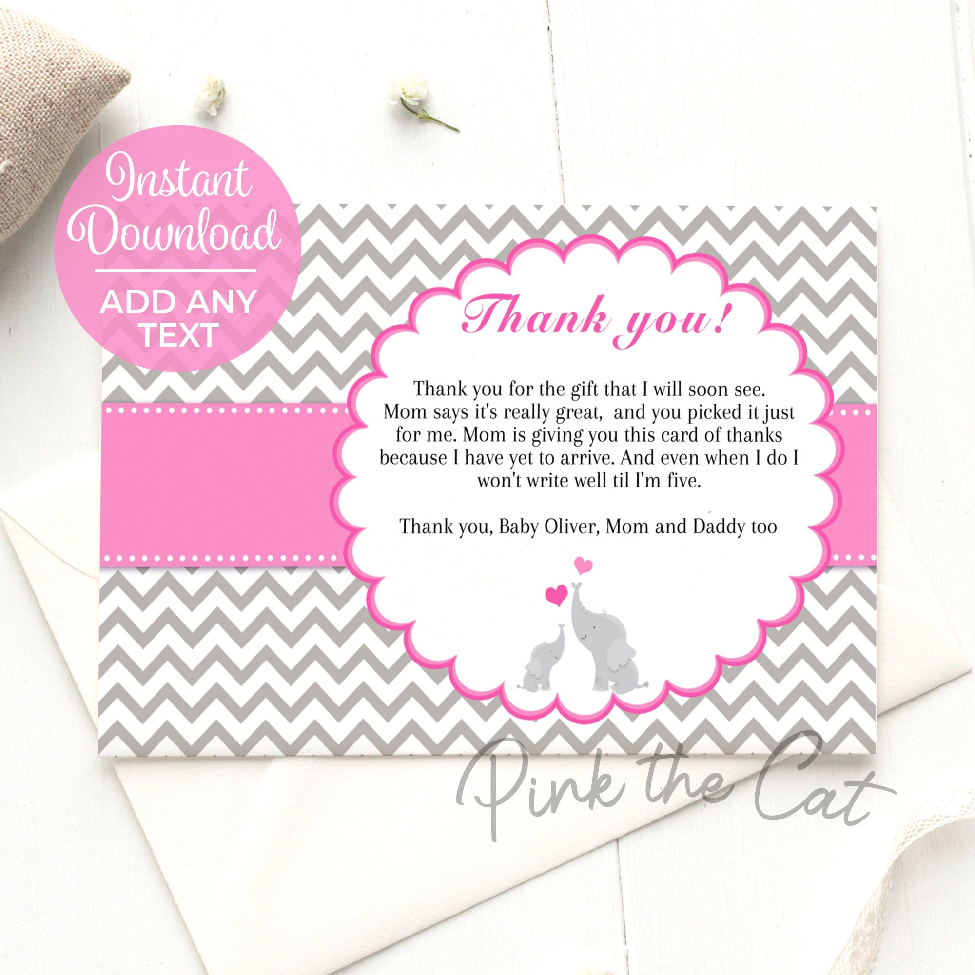 Elephant Baby Shower Thnk You Card Pink Silver Printable Template Pink The Cat