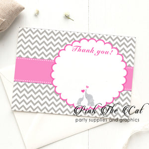 Elephant pink silver thank you card girl baby shower (set of 30)